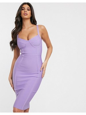Band of Stars bandage corset detail midi pencil dress in lilac-purple
