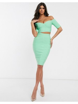 Band of Stars bandage midi pencil skirt in mint-blue