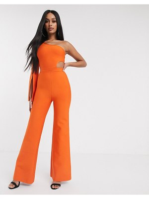 Band of Stars bandage one shoulder open sleeve jumpsuit in orange