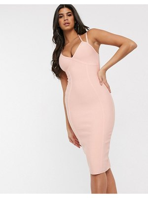 Band of Stars bandage strappy bodycon dress in light coral-orange