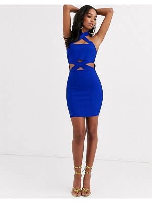 Band of Stars bandage strappy cutout mini dress in cobalt blue