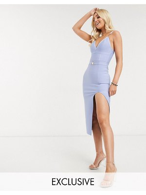 Band of Stars exclusive bandage midi dress with belt detail in blue