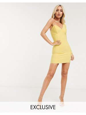 Band of Stars exclusive one shoulder bandage dress in yellow