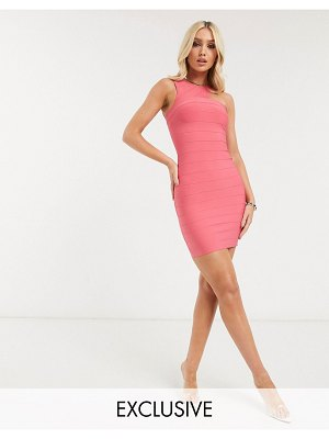 Band of Stars exclusive one shoulder bandage mini dress in hot pink
