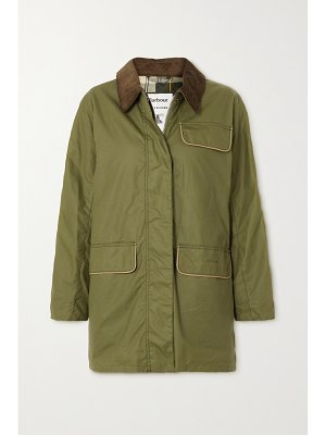 Barbour + alexachung cyril corduroy-trimmed waxed-cotton jacket