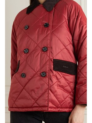 Barbour alexachung delia corduroy-trimmed quilted cotton-shell jacket
