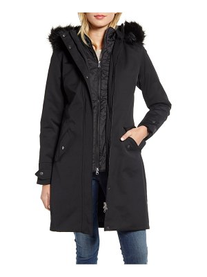 Barbour bute hooded raincoat with faux fur trim