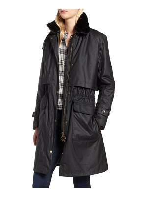 Barbour floree waxed cotton canvas jacket with faux fur collar