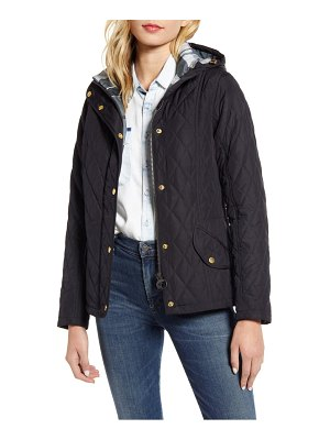 Barbour millfire diamond hooded quilted jacket