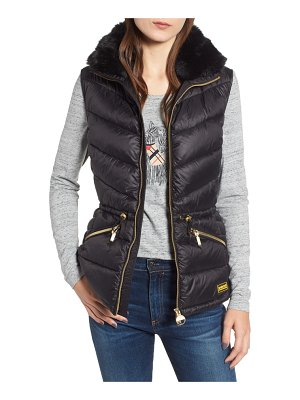Barbour victory cinch waist chevron quilted gilet with removable faux fur collar