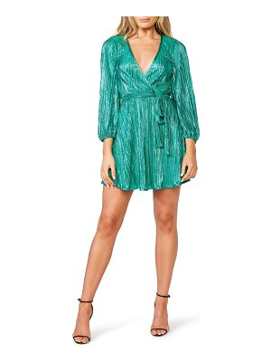 Bardot bellissa pleated long sleeve faux wrap dress