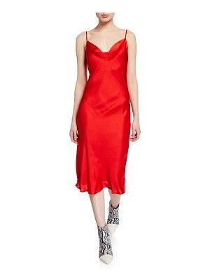 Bardot Cowl-Neck Spaghetti-Strap Satin Slip Dress