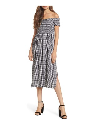 Bardot gingham off the shoulder midi dress