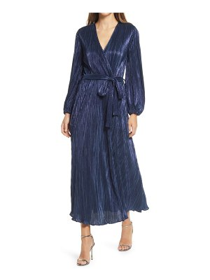 Bardot melissa long sleeve plisse faux wrap midi dress