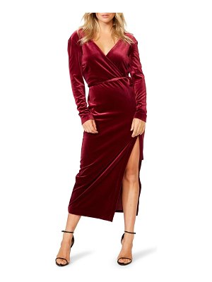 Bardot morgan long sleeve velvet faux wrap dress