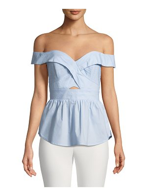 Bardot Sara Off-the-Shoulder Fitted Peplum Top