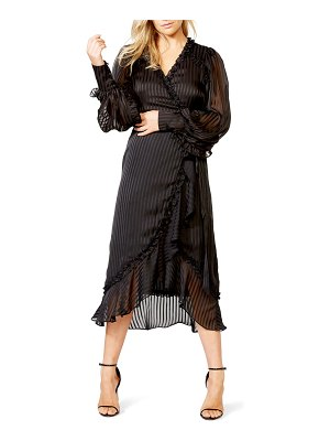 Bardot whitney tonal stripe long sleeve wrap dress