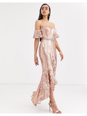 Bariano bardot midi sequin dress with dip hem in rose gold-pink