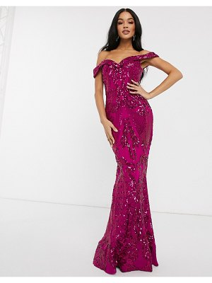 Bariano bardot neck maxi dress with sequin embellishment in fuchsia pink