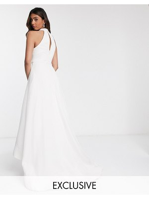 Bariano bridal high low mesh maxi dress with pockets in ivory-white