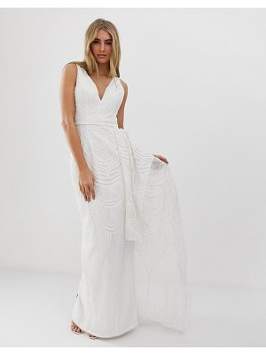 Bariano bridal sequin maxi dress with detachable skirt in white-pink