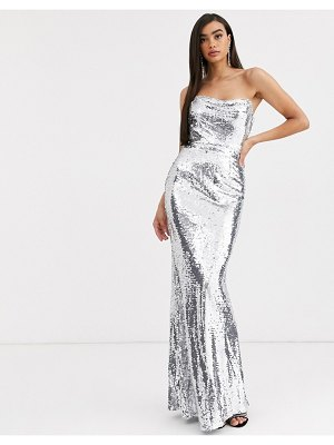 Bariano corset sequin gown in liquid silver