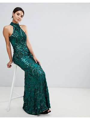 Bariano embellished maxi dress with high neck