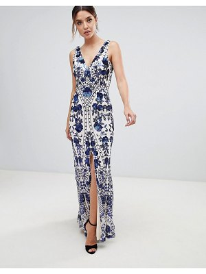 Bariano embellished maxi dress with thigh split in cobalt
