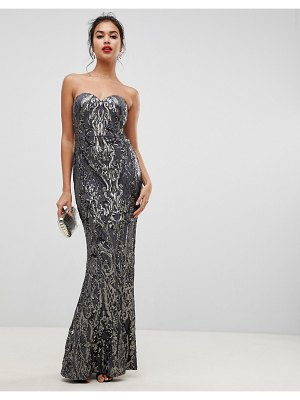 Bariano embellished patterned sequin sweetheart bandeau maxi dress