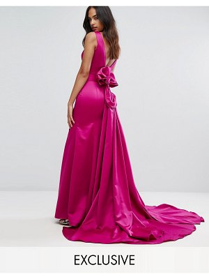 Bariano fishtail satin maxi dress with structured bow back
