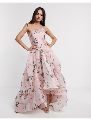 Bariano full maxi dress with organza bust detail in multi floral