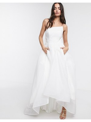 Bariano full maxi dress with organza bust detail in white