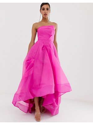 Bariano full maxi dress with organza bust detail in fuchsia-pink
