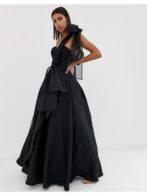 Bariano full prom one shoulder organza maxi dress with detachable bow detail in black