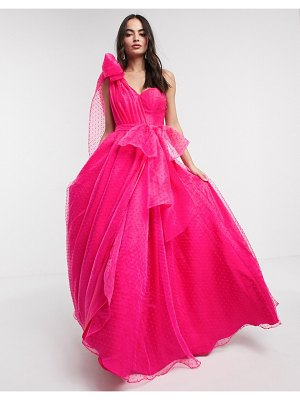 Bariano full prom one shoulder maxi dress with detachable waist bow detail in fuchsia-pink