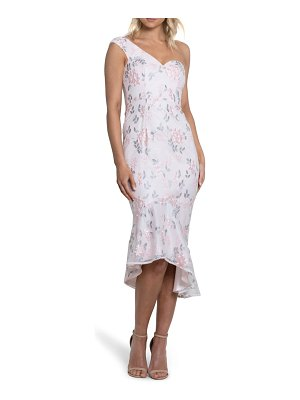 Bariano gabriella floral embroidered one-shoulder high/low dress