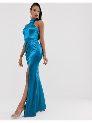 Bariano halter neck liquid draped gown in teal-blue