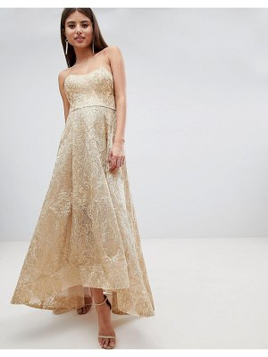 Bariano high low bandeau maxi dress in metallic jacquard