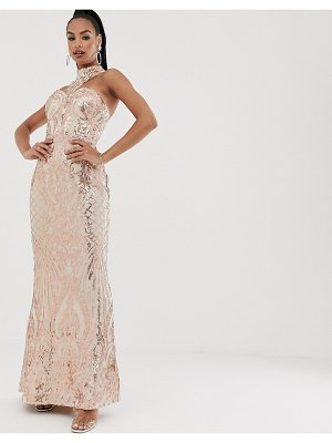 Bariano high neck sequin gown in rose gold-pink