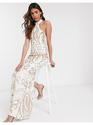 Bariano high neck sequin gown in white and gold embellishment