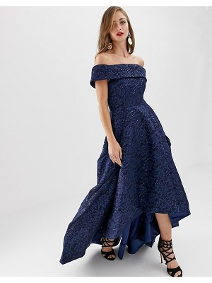 Bariano off shoulder full prom dress with high low hem in navy