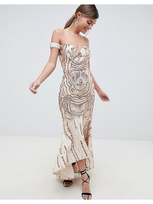 Bariano off shoulder sweetheart sequin maxi dress