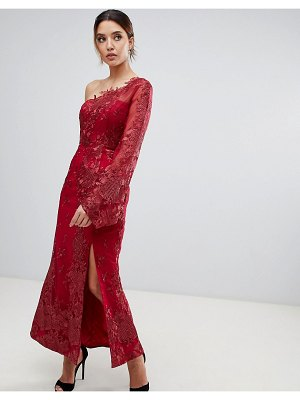 Bariano one shoulder embroidered lace midi dress