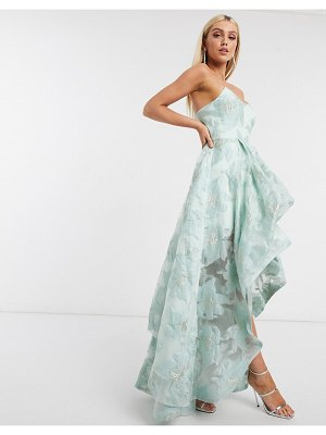 Bariano organza high low dress in mint floral-multi