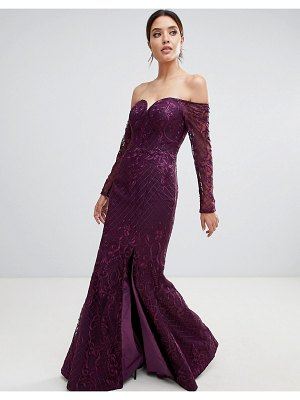 Bariano sweetheart neck lace maxi dress in plum
