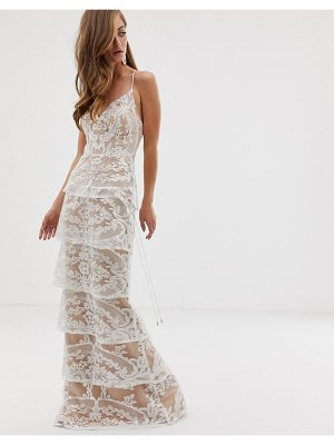 Bariano tiered contrast lace maxi dress in white