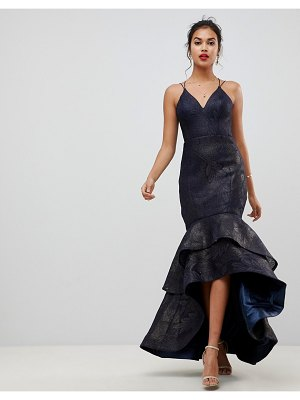 Bariano tiered fishtail mesh maxi dress in navy