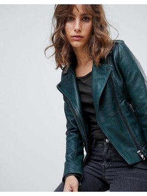 Barney's Originals colored leather biker jacket