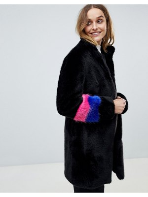Barney's Originals color block sleeve faux fur coat