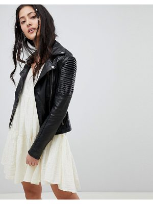 Barney's Originals leather biker jacket with shoulder detail